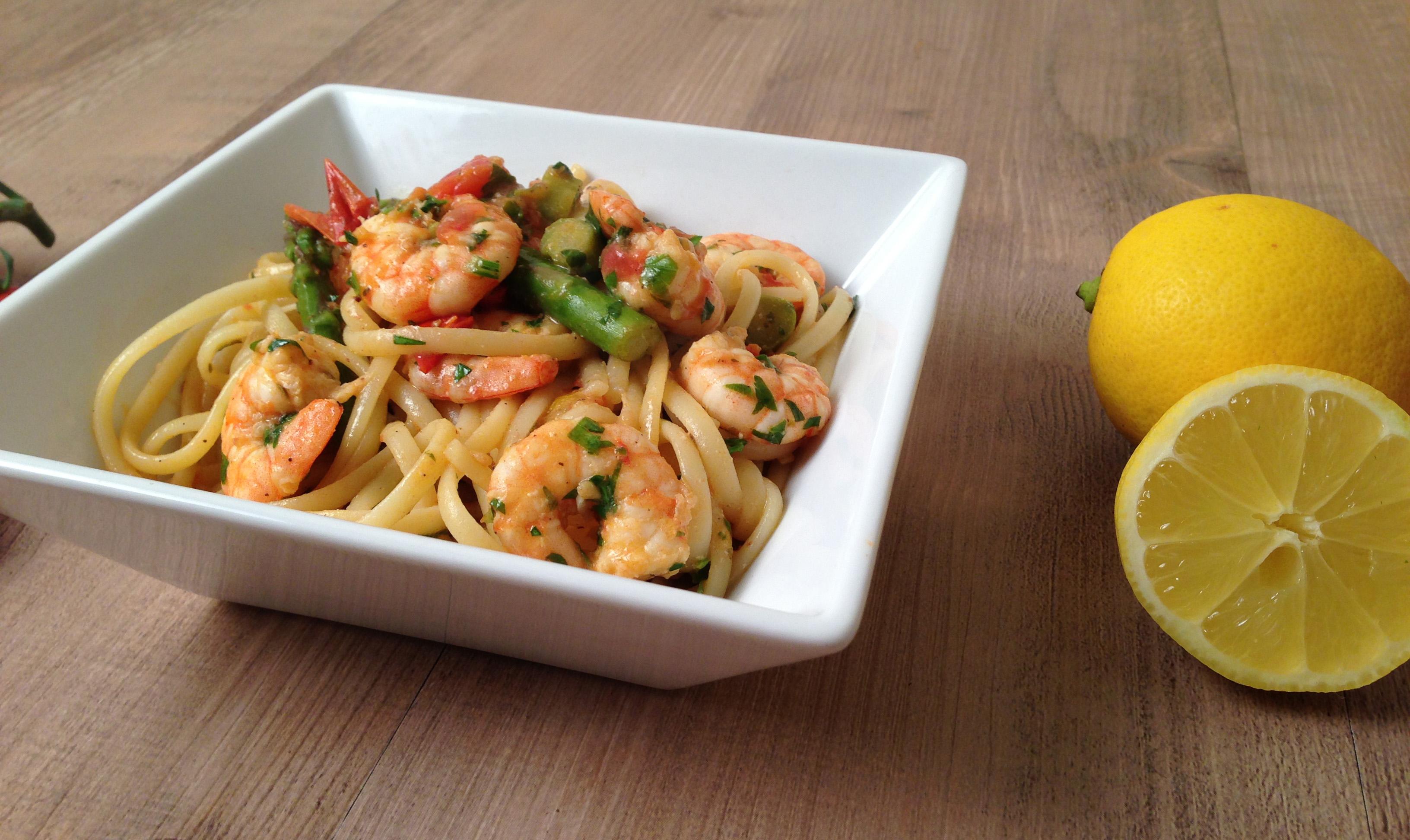 prawn linguine with tomatoes asparagus recipe