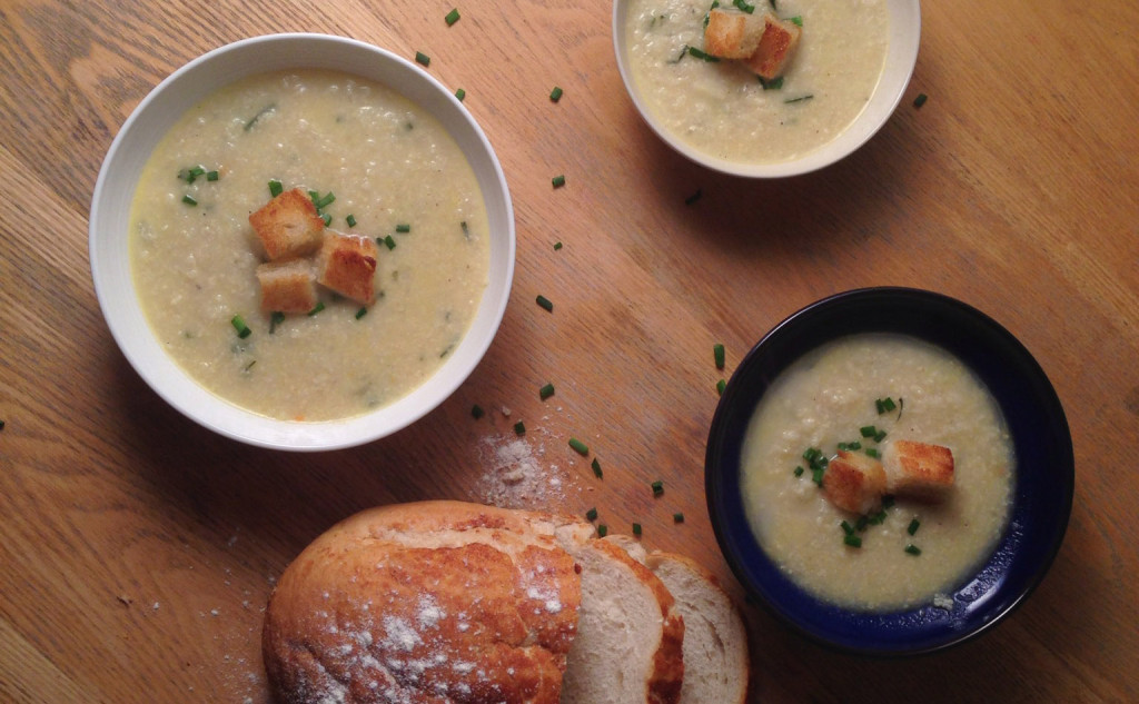Homemade Cauliflower Cheese Soup with Croutons