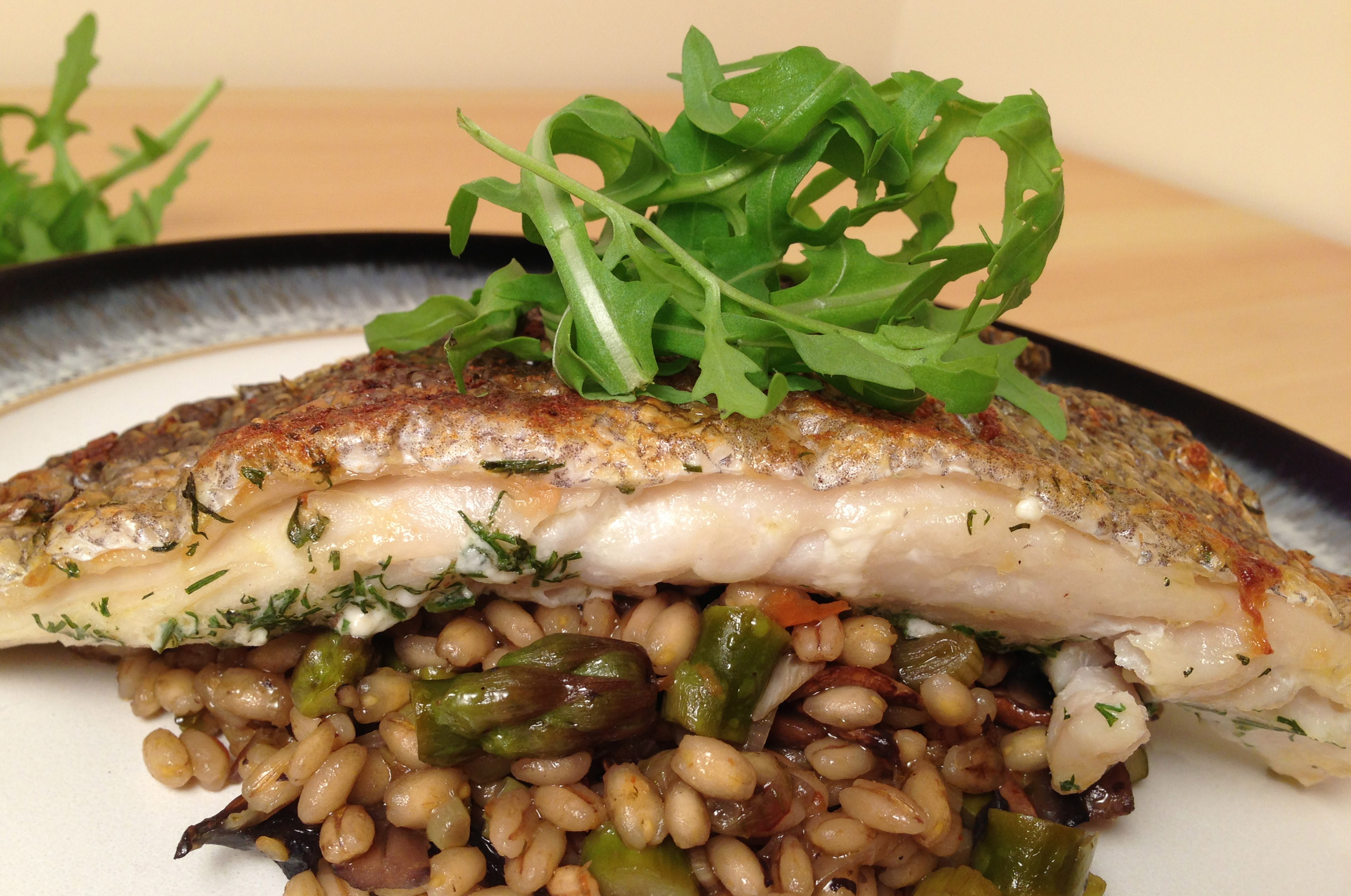 Grilled Hake with Pearl Barley Risotto Recipe - Pescetarian.Kitchen