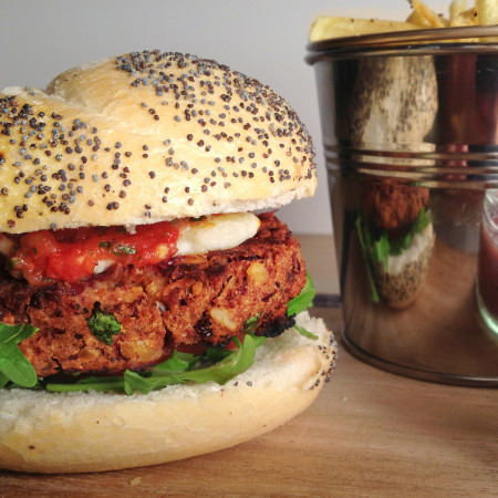 Spicy Bean Burger with Shoestring Fries