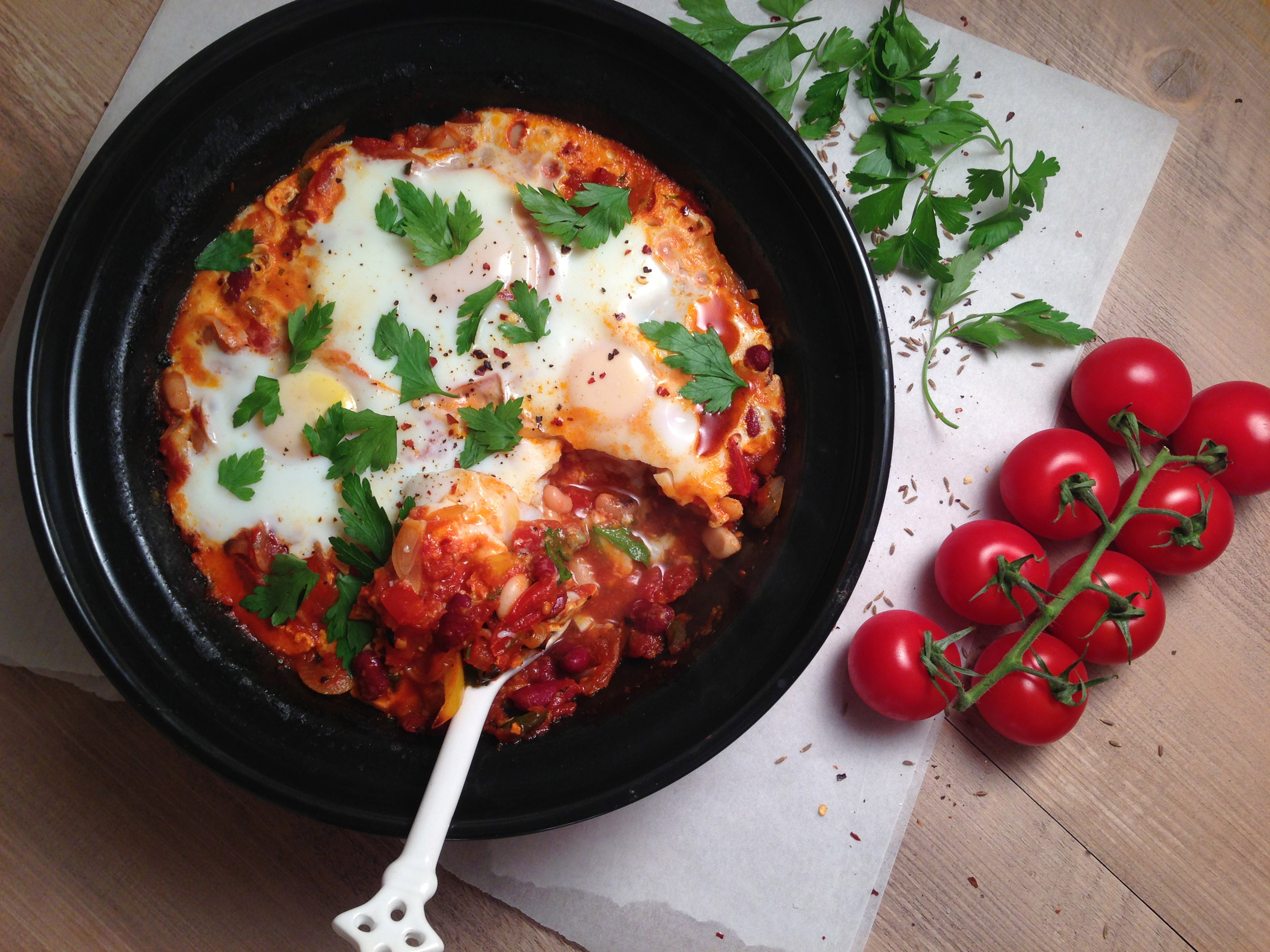Three Bean Tagine with Baked Eggs - Pescetarian.Kitchen