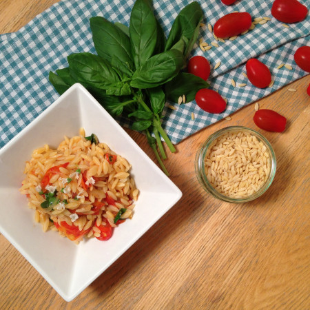 Tomato, Basil and White Wine Orzo