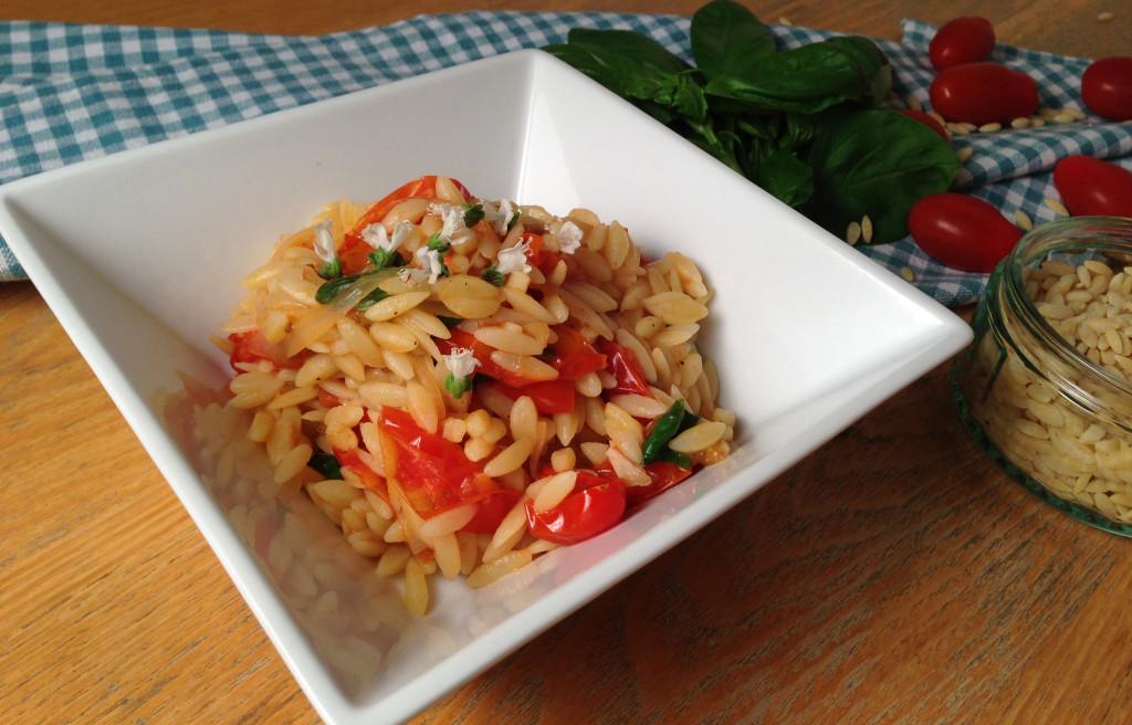 Tomato, Basil and White Wine Orzo