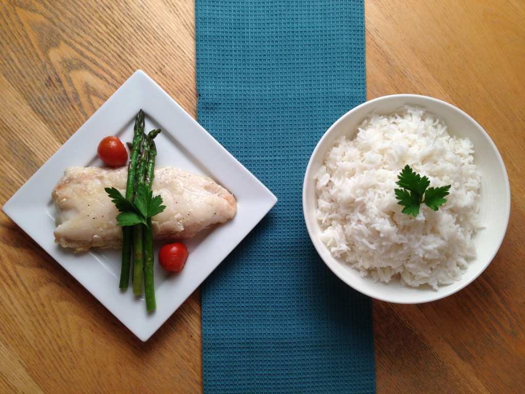 Pan Fried Hake with Coconut Rice & Asparagus