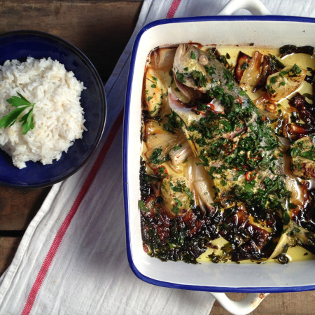 Baked Trevally and Coconut Rice