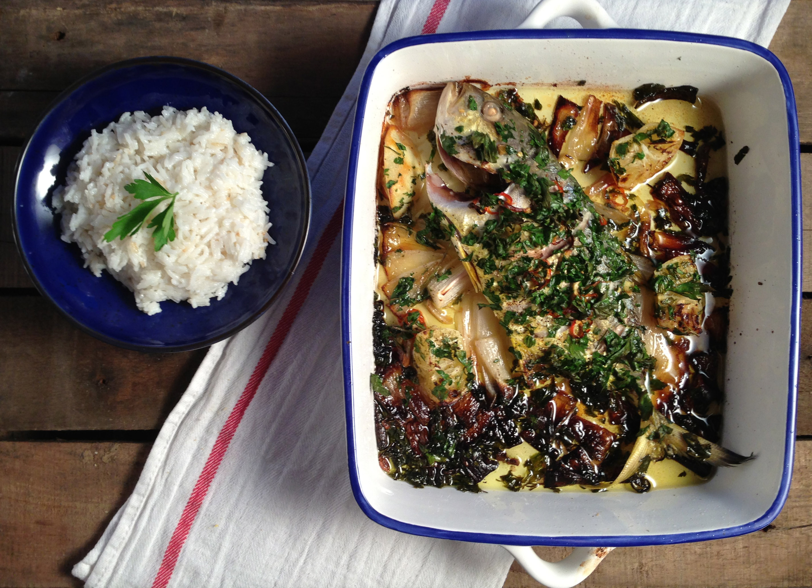 Baked Trevally with Sticky Coconut Rice