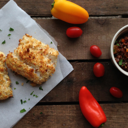 Healthy Breaded Cod with Red Quinoa