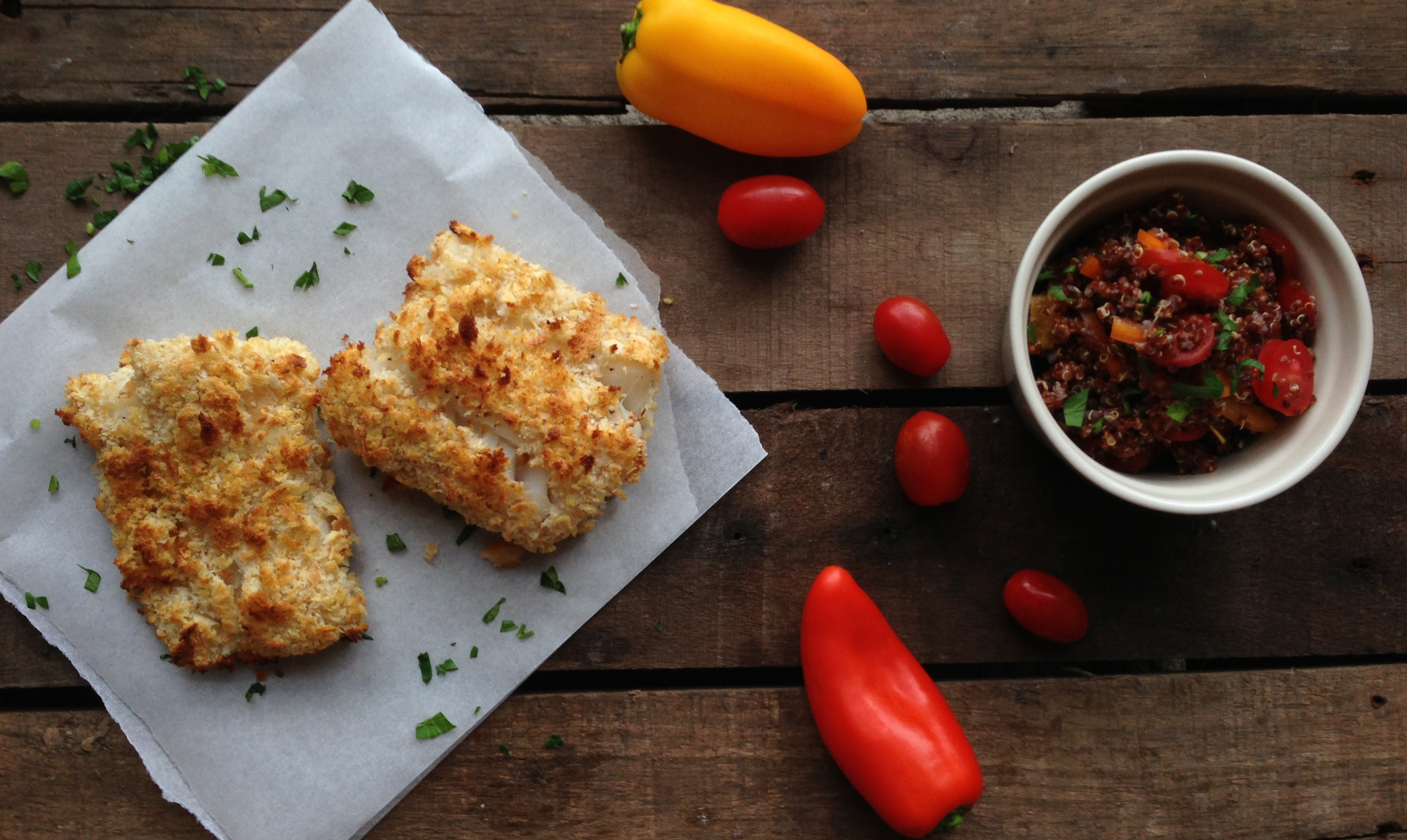 Super Healthy Breaded Cod Loin with Red Quinoa