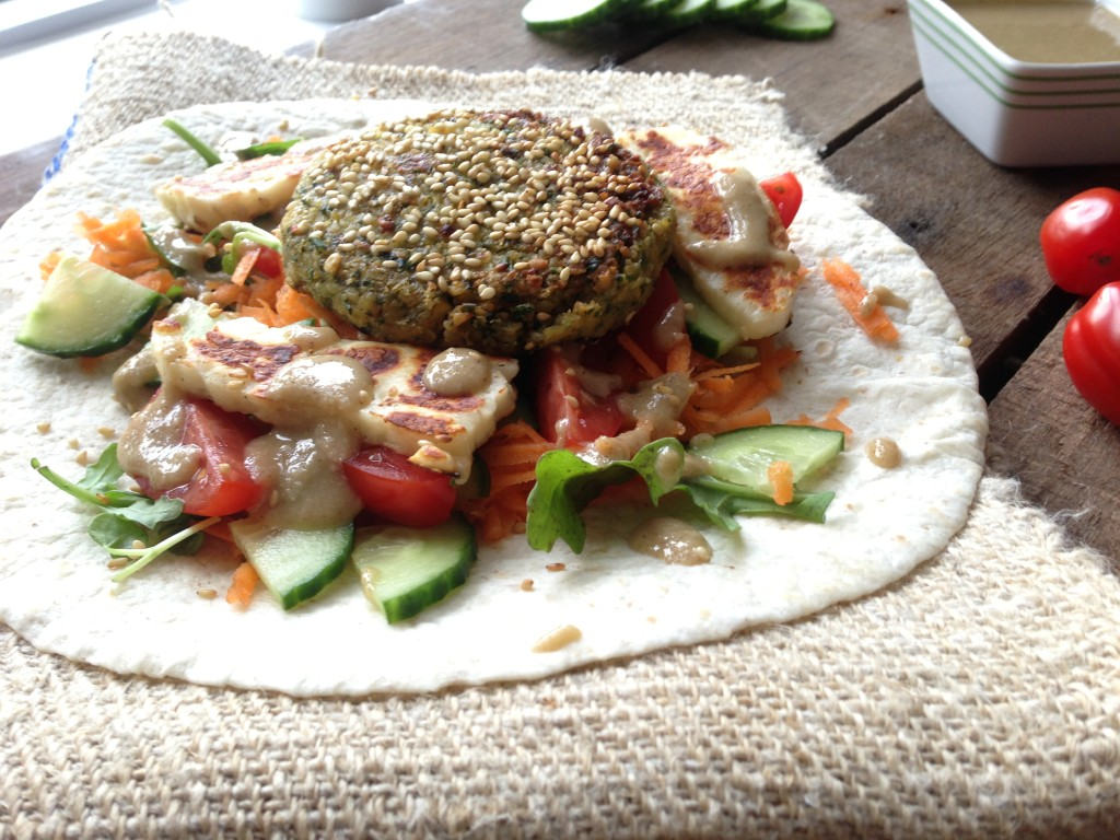 Sesame Falafel Wraps with Homemade Tahini