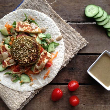 Sesame Falafel Wraps with Homemade Tahini
