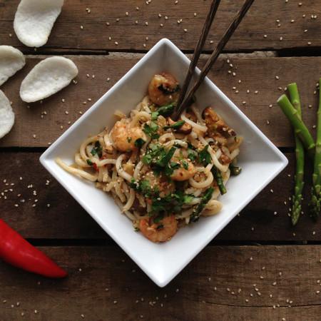 Stir Fry Sesame Prawn Noodles
