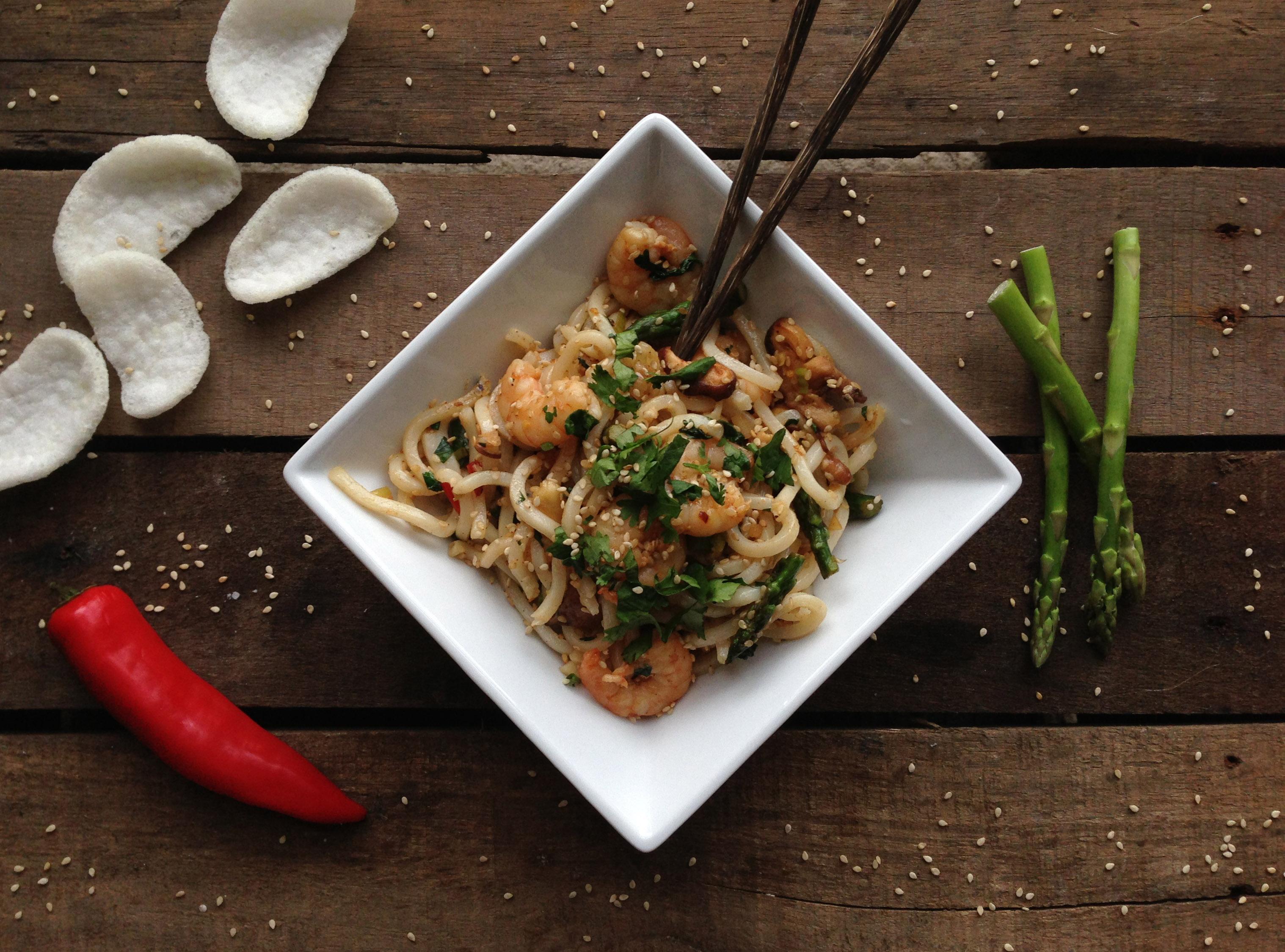 Stir Fry Sesame Shrimp Noodles