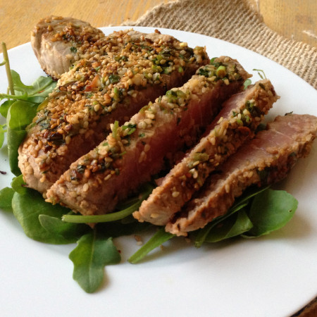 Marinated Tuna Steaks with a Sesame Crust