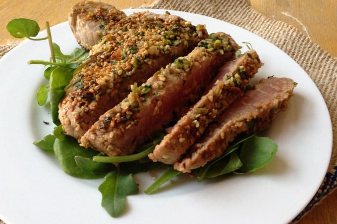 Marinated Tuna Steaks with a Sesame Crust