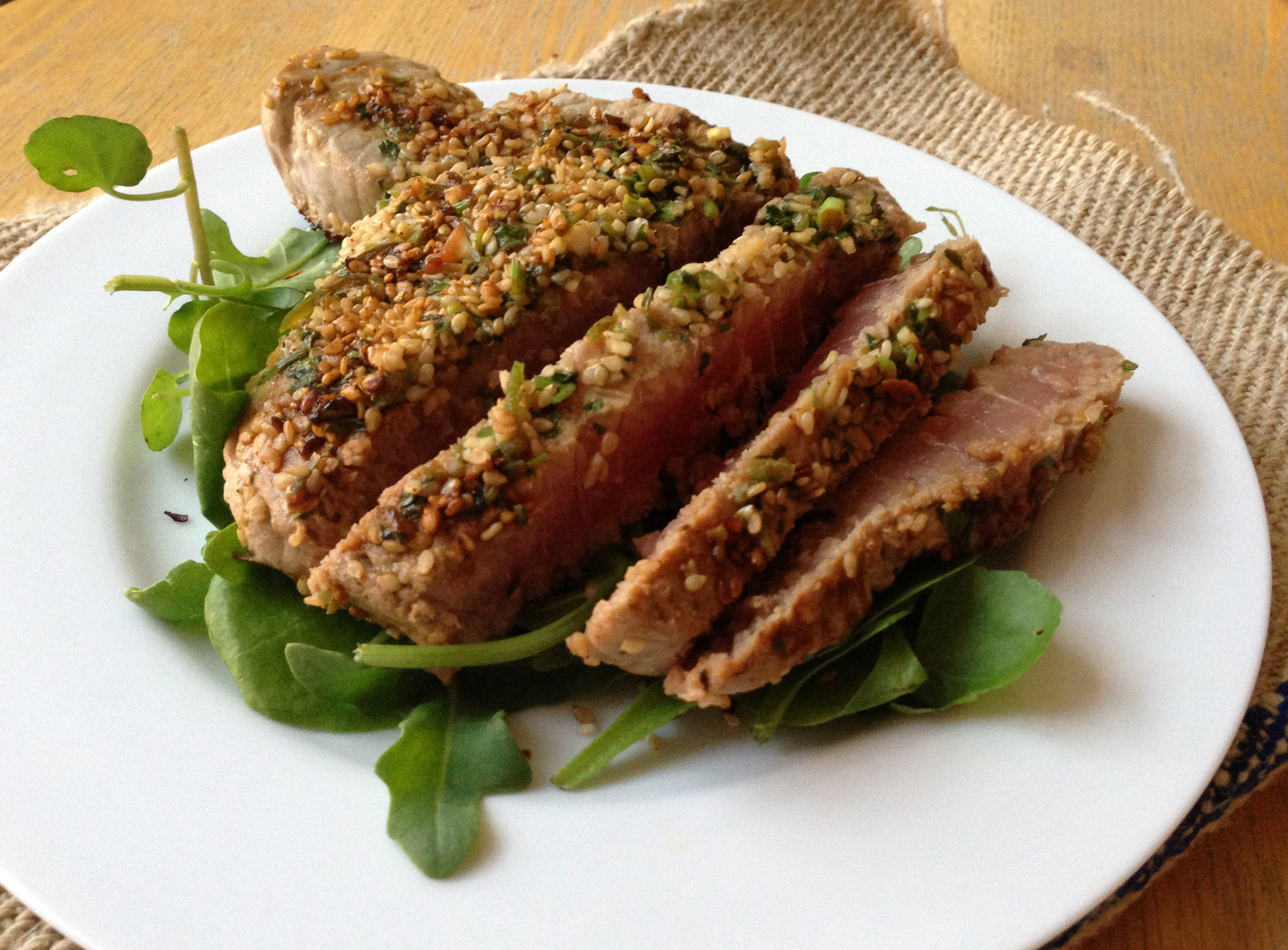 Marinated Tuna Steak with a Sesame Crust