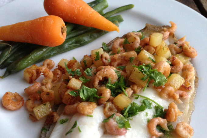 Pan Fried Lemon Sole with Brown Shrimp