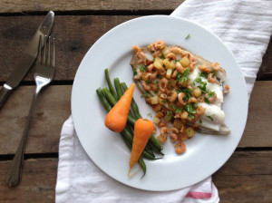 Pan Fried Lemon Sole with Brown Shrimp