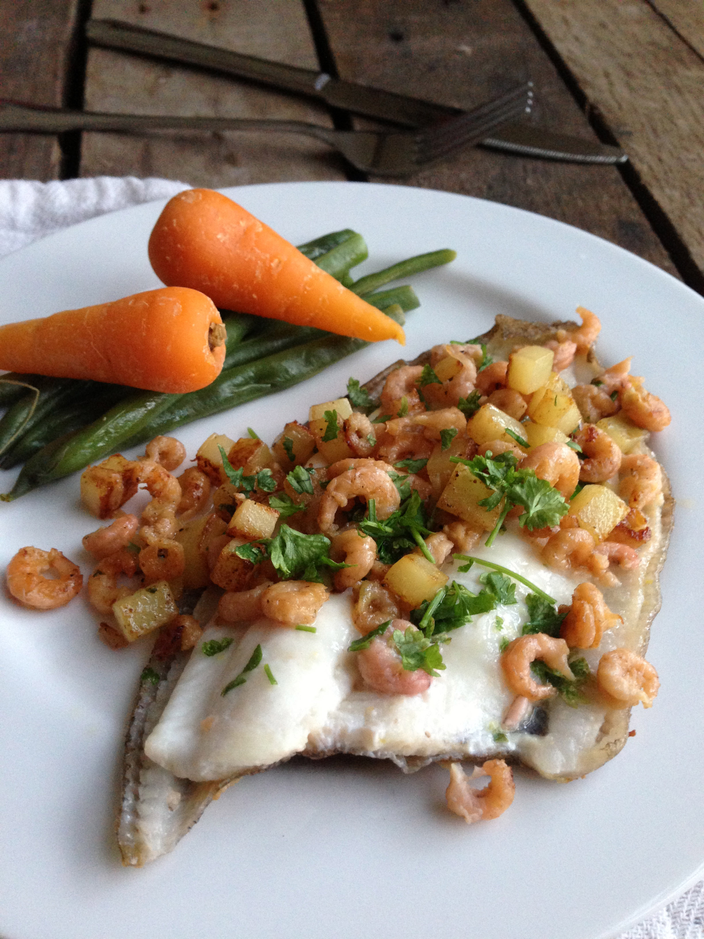 Pan fried lemon sole with brown shrimp recipe for Sole fish nutrition