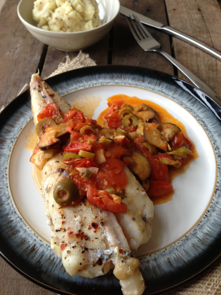 Grilled Monkfish Tail in a Tomato & Aubergine Sauce with Mustard Mash Potato