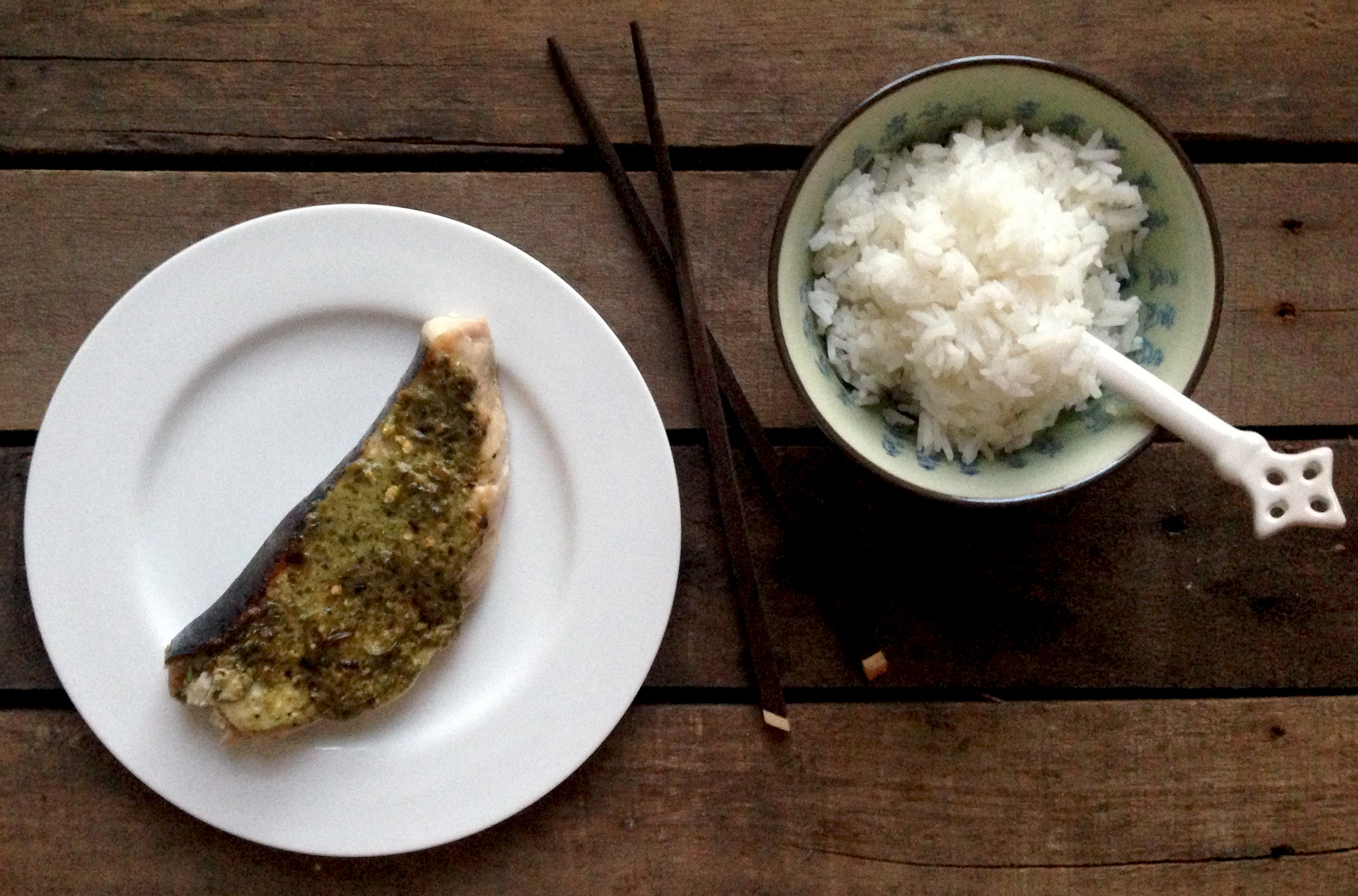 Grilled Swordfish Steak with a Pesto, Chili and Lemon Crust