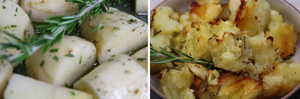 Rosemary Roast Potatoes Before vs After