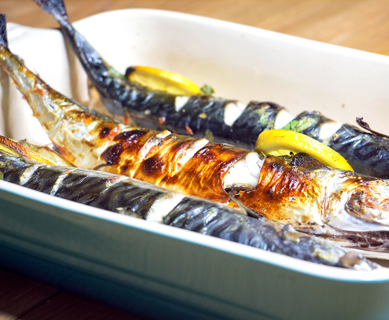Garlic and lime grilled mackerel
