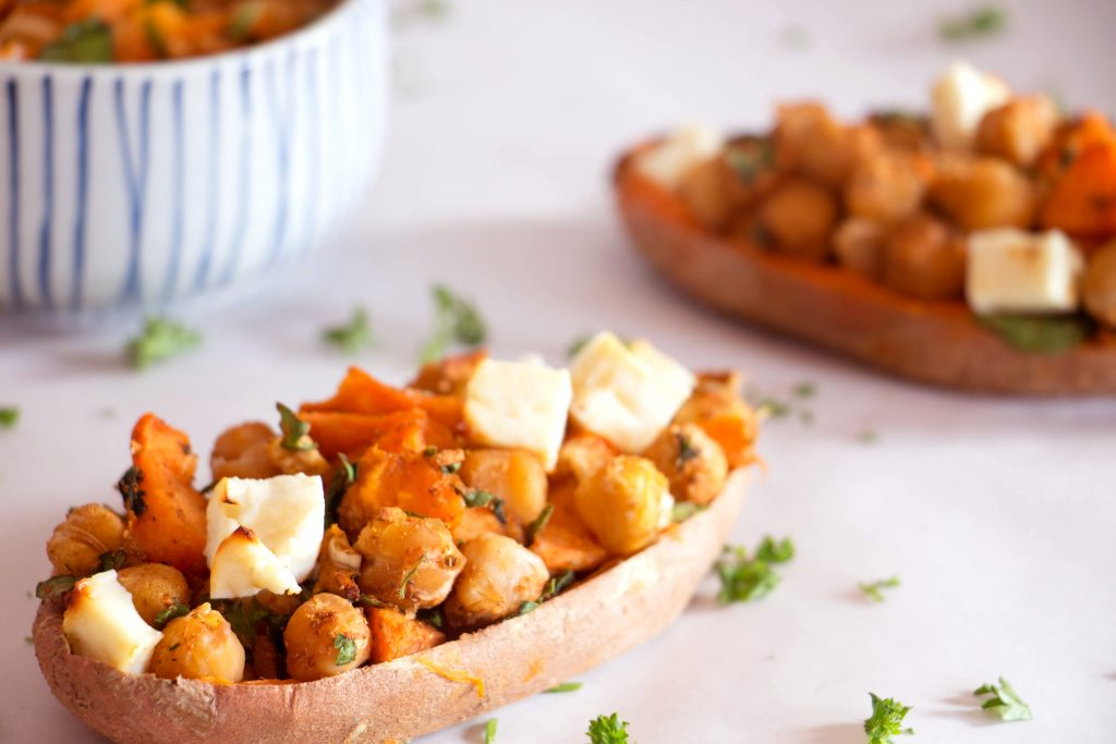 Moroccan stuffed sweet potato skins