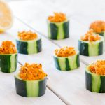 Carrot Hummus Cucumber Cups