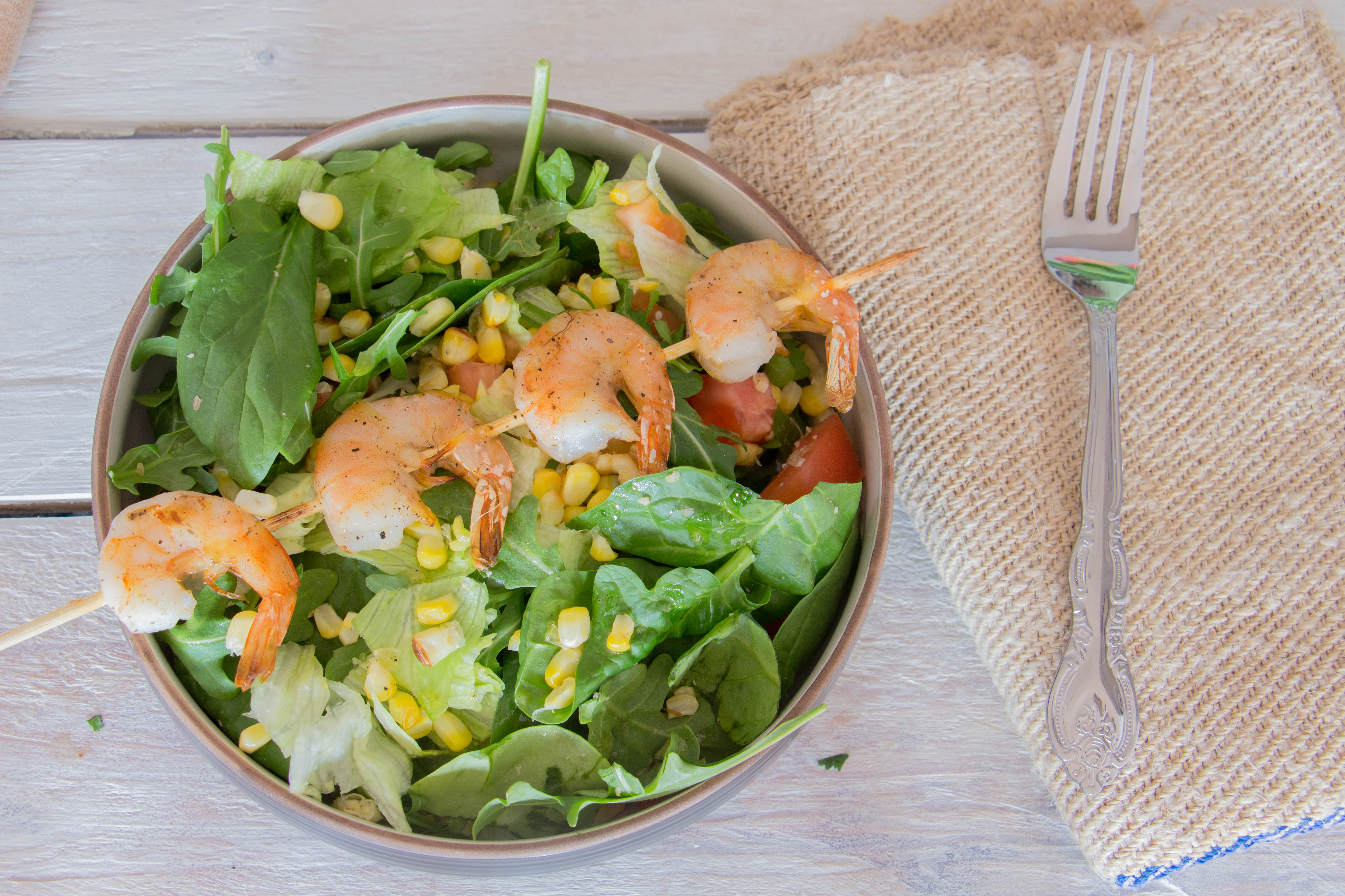 Broiled Shrimp and Corn salad