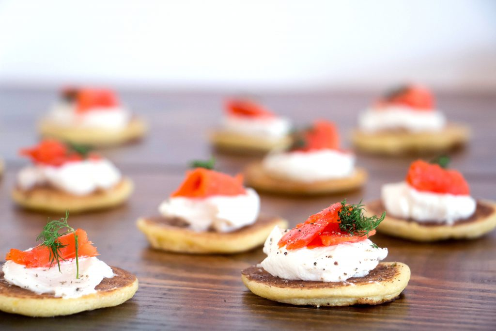 Homemade Blinis with smoked salmon