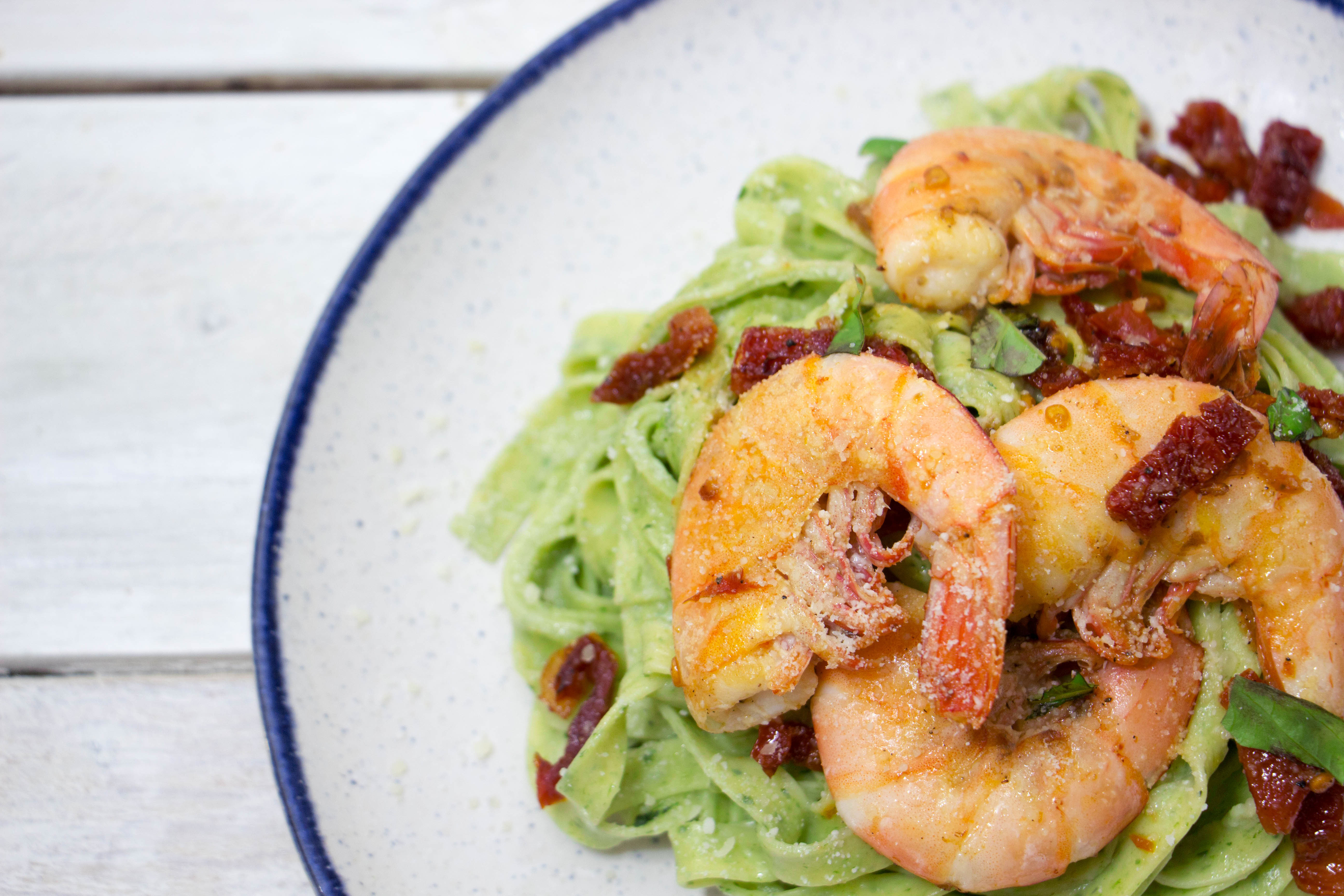 Spinach Tagliatelle with Shrimp