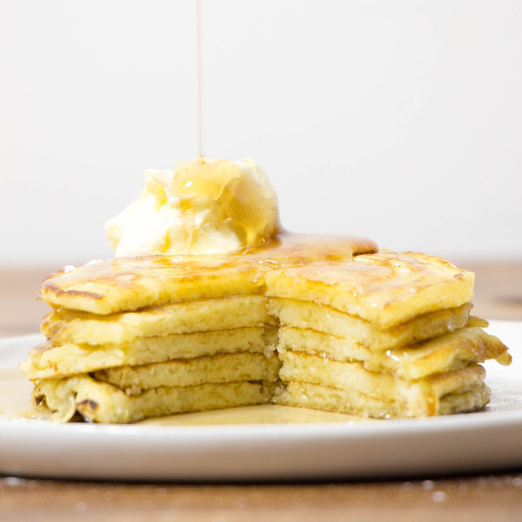 Buttermilk pancakes maple syrup whipped butter