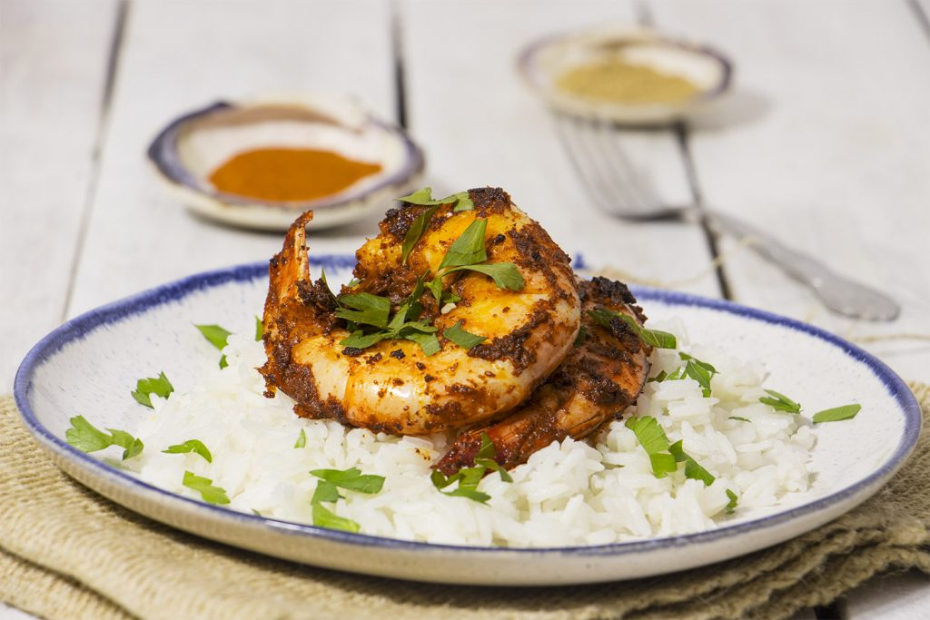 Curried Masala King Shrimp with Coconut Rice