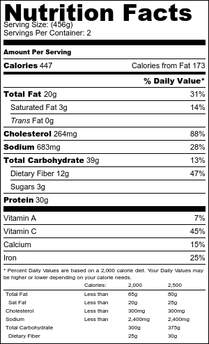Calamari chickpea salad nutritional information