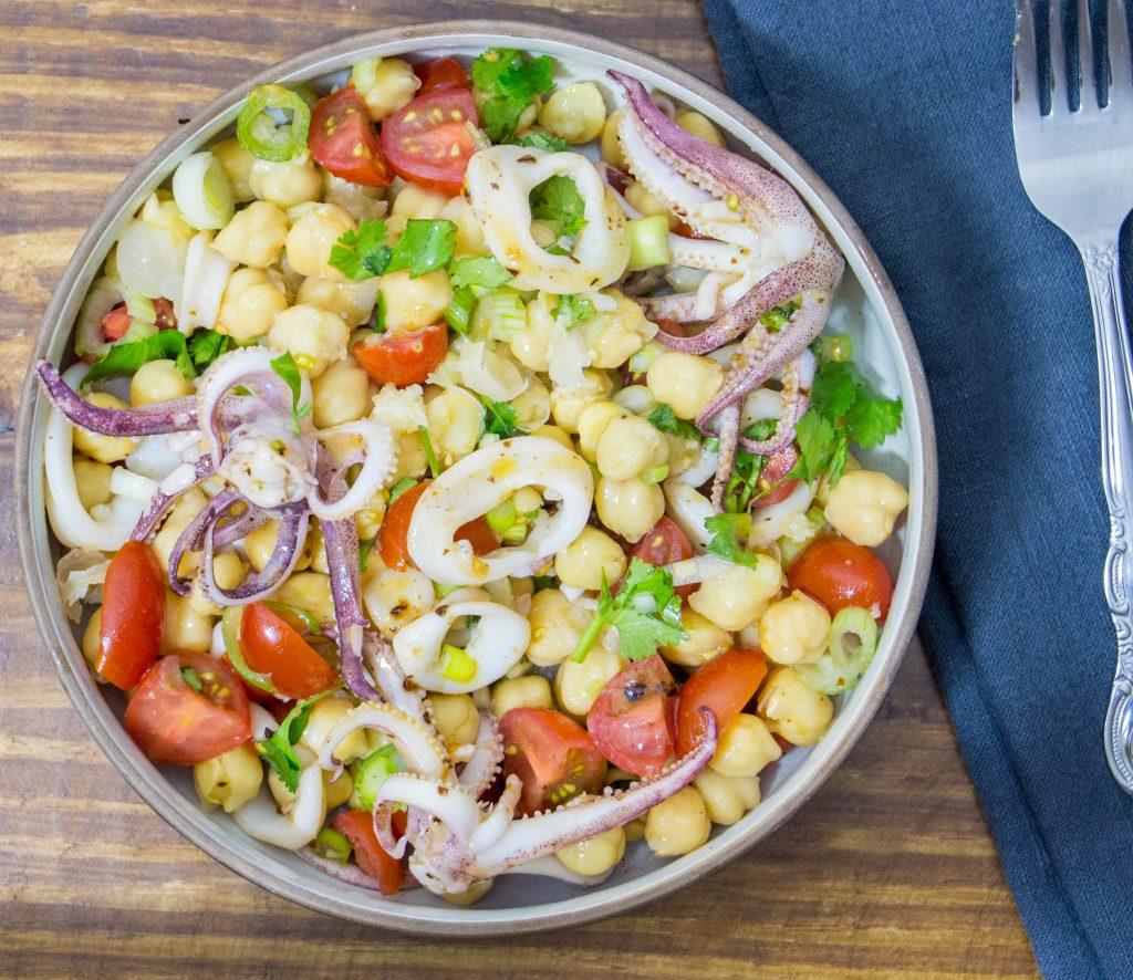 Calamari chickpea salad