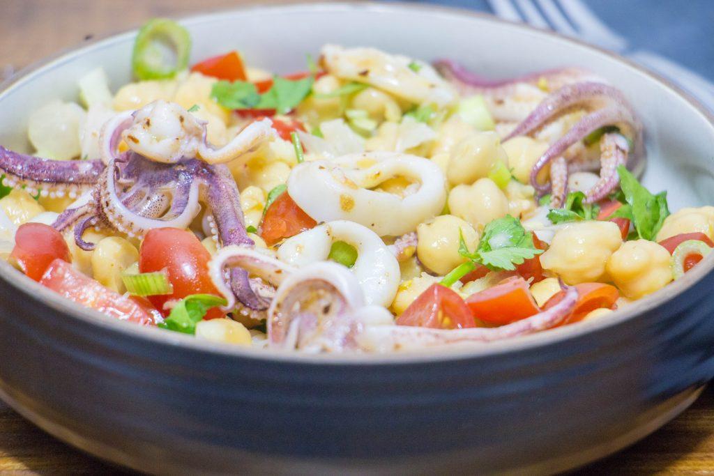 Calamari chickpea salad 4