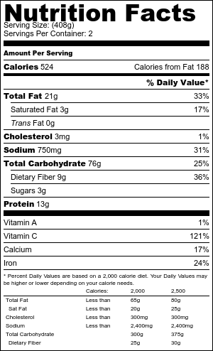 garlic and parmesan potato wedges nutritional information