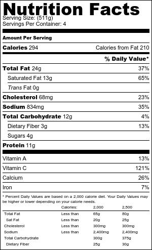 Roast cauliflower soup nutritional information