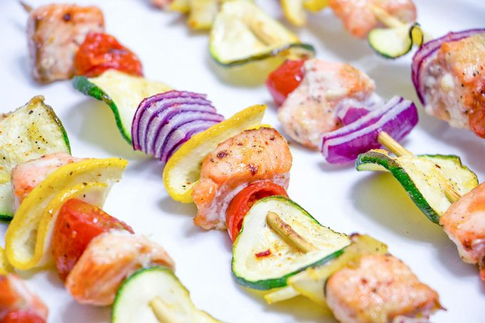 Sweet & Sticky Salmon Kebabs