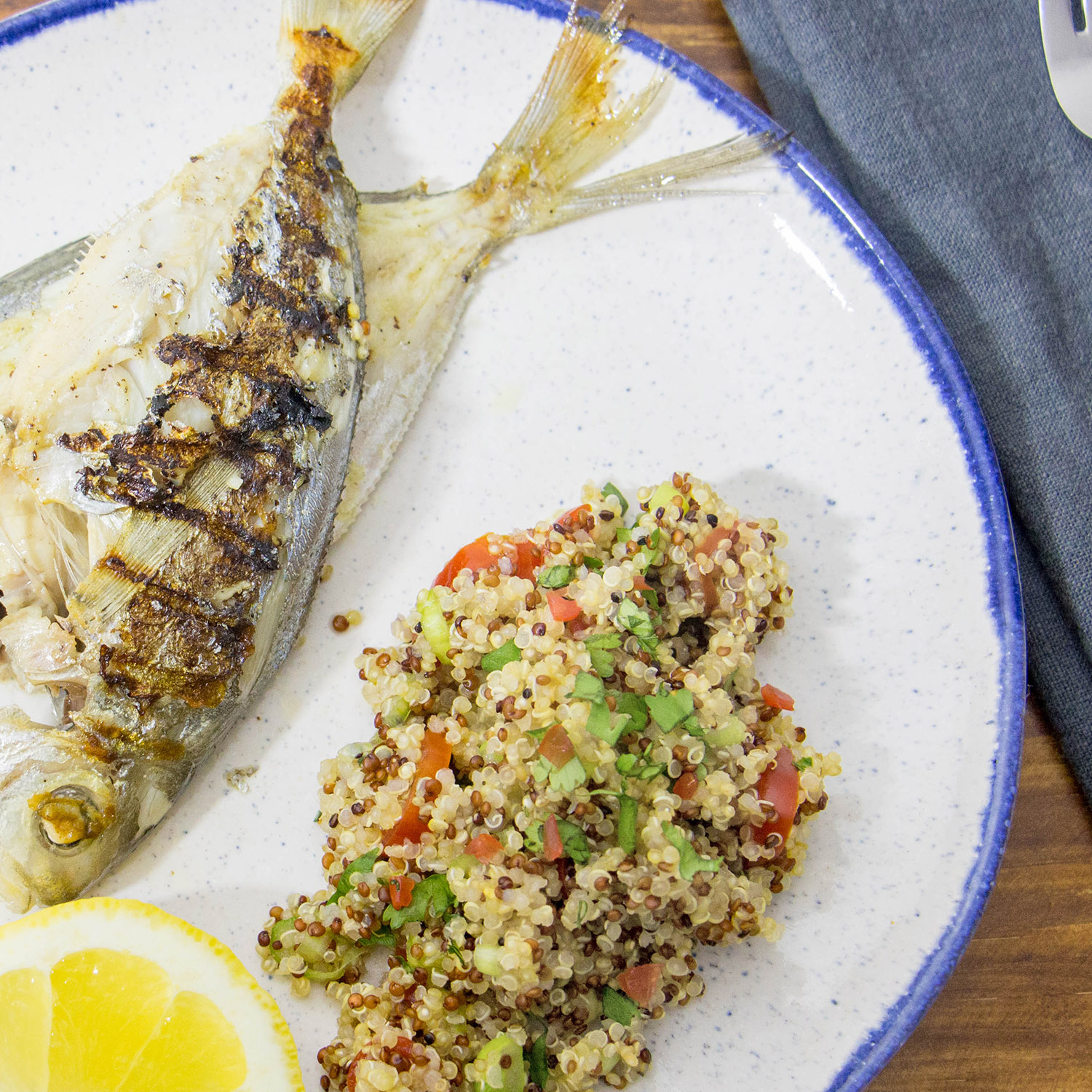 Grilled Butterfish with Tricolour Quinoa