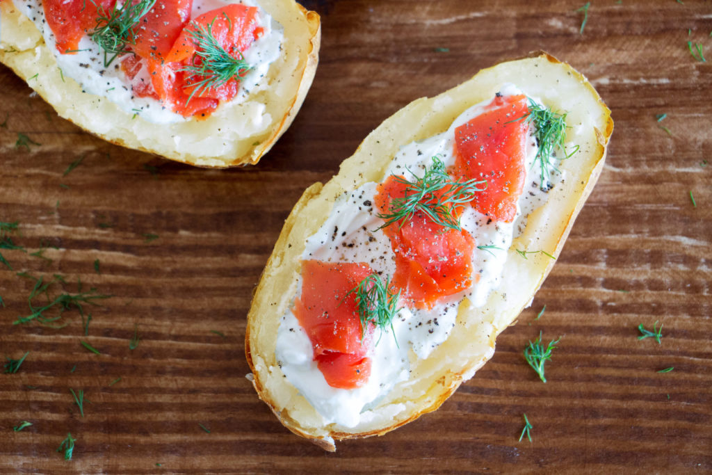 Smoked Salmon Loaded Potato Skins